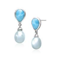 Marahlago Sterling Silver Blue Larimar and Pearl Alisa Earrings
