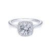 Gabriel 14k White Gold Round Cypress Halo Engagement Ring