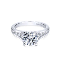 Gabriel 14k White Gold Round Aubrey Straight Engagement Ring