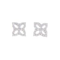 18k White Gold Princess Flower Earrings with Diamonds