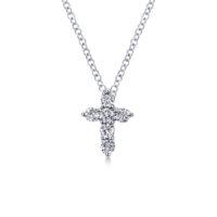 14k White Gold Cross Diamond Necklace