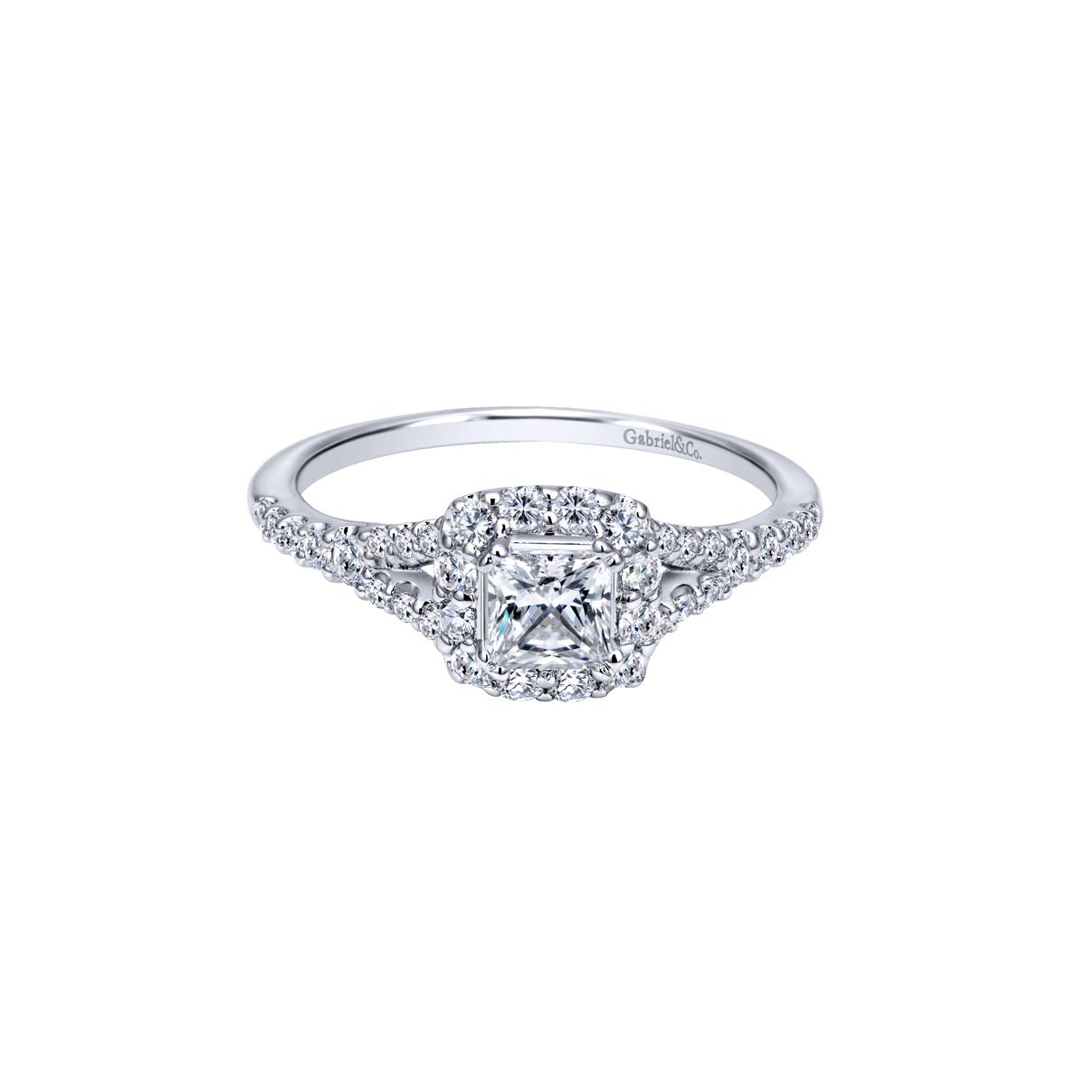 14k White Gold Princess Cut Halo Diamond Engagement Ring Little Treasury