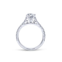 14k White Gold Diamond Engagement Semi-Ring Mount