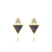 14k Yellow Gold Stud Diamond Black Mother of Pearl Earrings