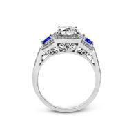 Simon G Diamond and Sapphire Semi-Mount Ring