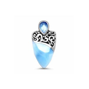 Intricate swirls of filigree clasp a softly tapering larimar gemstone, crowned by a sparkling blue spinel