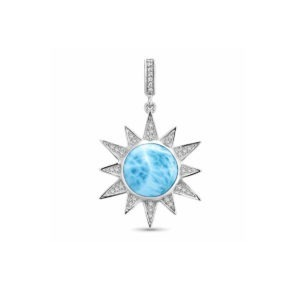White sapphires are set in a starburst as they radiate around a round of luminous larimar
