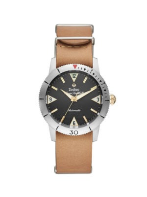 ZODIAC SUPER SEA WOLF AUTOMATIC BROWN LEATHER WATCH