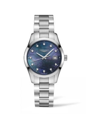 CONQUEST CLASSIC 34MM BLACK MOTHER OF PEARL STAINLESS STEEL