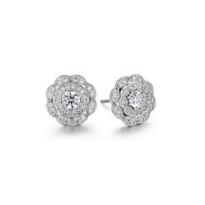LORELEI DOUBLE HALO DIAMOND STUD EARRINGS