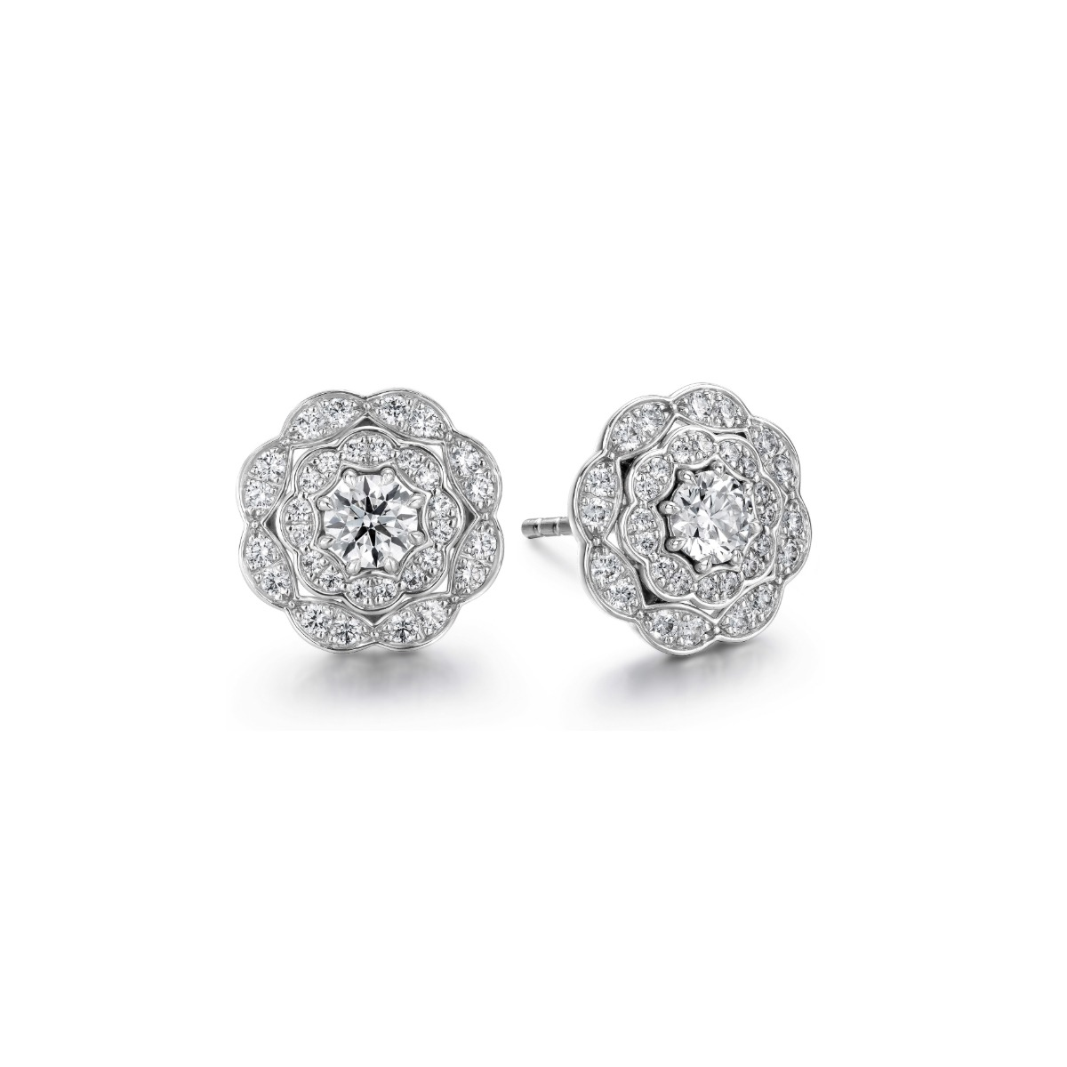 Hearts On Fire 18k White Gold Lorelei Double Halo Diamond Stud Earrings Little Treasury