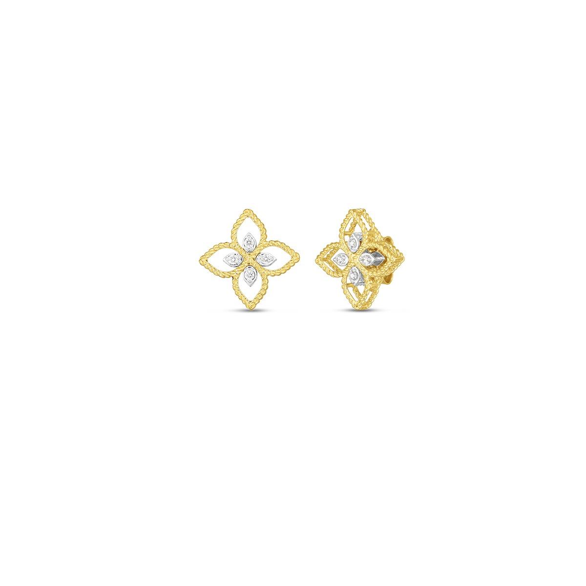 Roberto Coin 18k Yellow And White Gold Principessa Small Diamond Stud Earrings Little Treasury