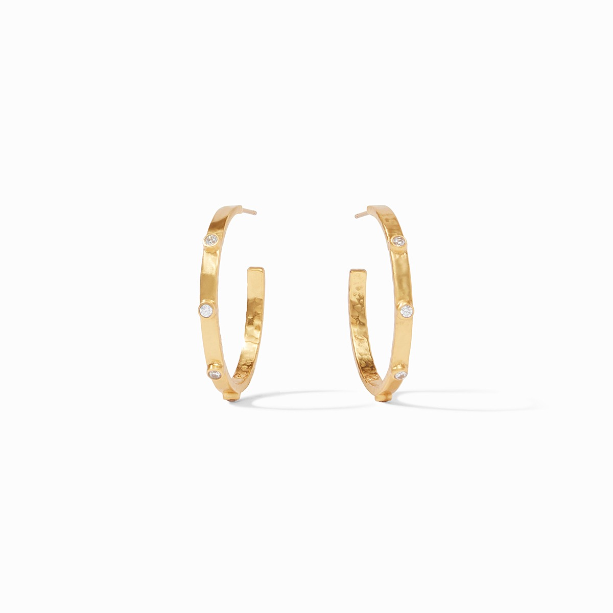 Crescent Stone Hoops