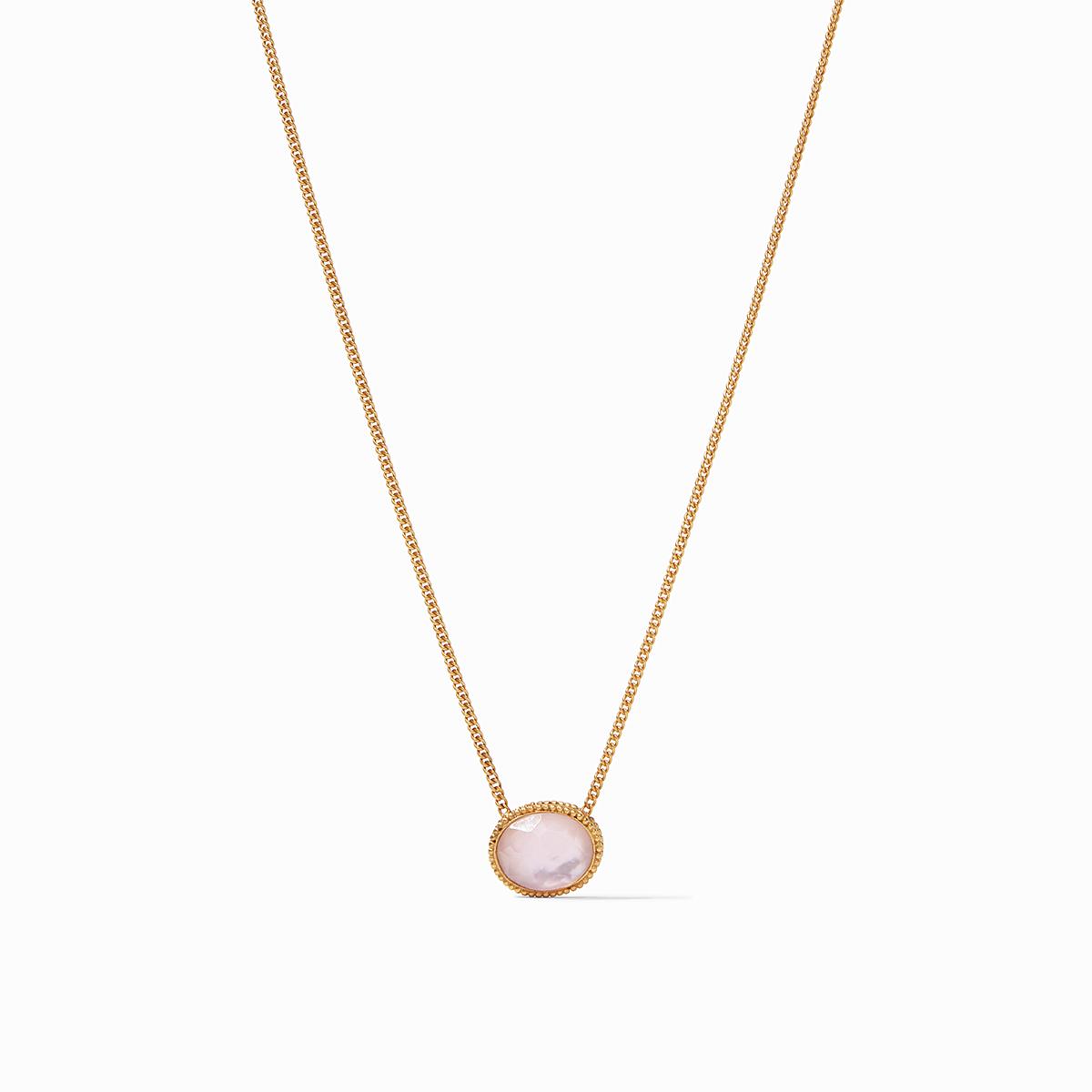 Verona Solitaire Necklace Iridescent Rose
