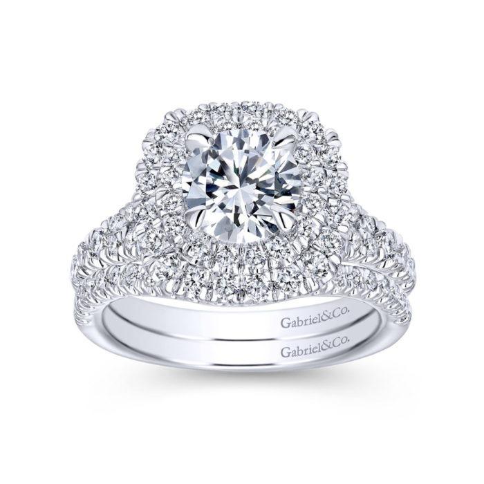 14k White Gold Cushion Double Halo Round Diamond Engagement Ring with band