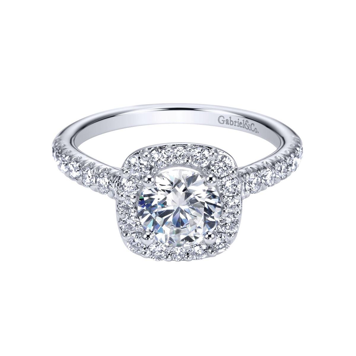 Gabriel Lyla 14k White Gold Round Halo Diamond Engagement Ring Little Treasury