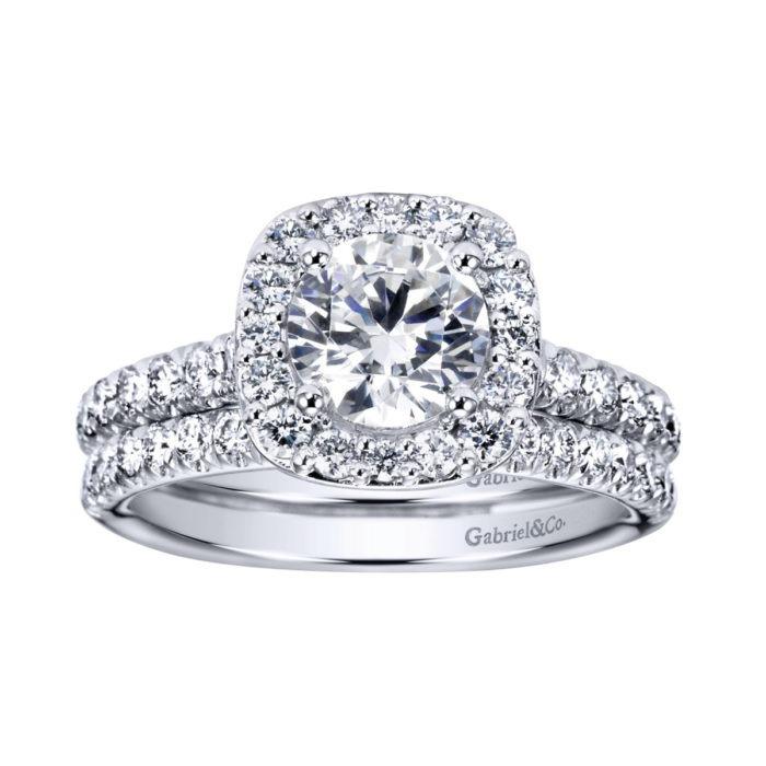 14K White Gold Round Halo Diamond Engagement Ring with band