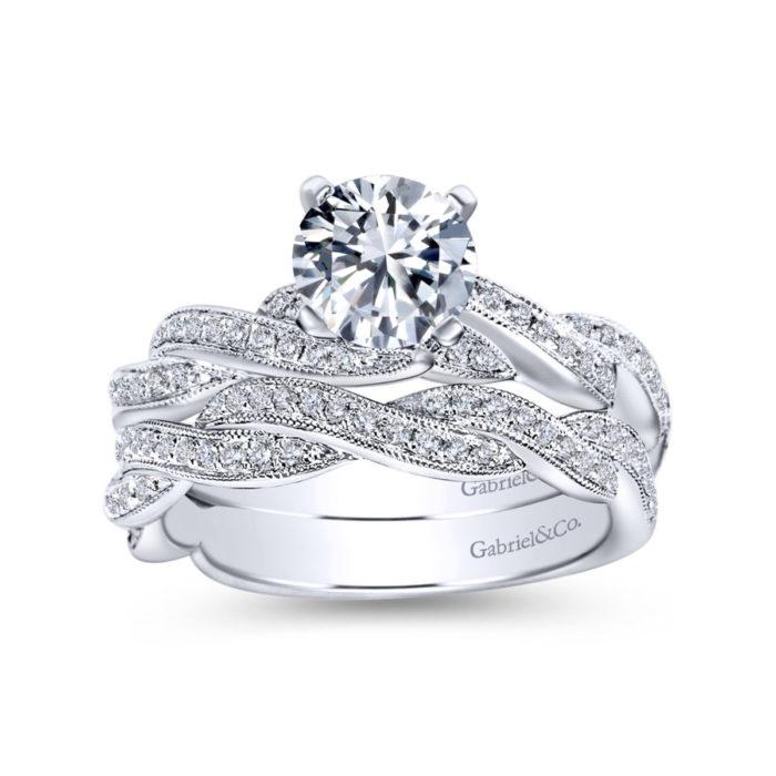 Cassidy 14K White Gold Round Twisted Diamond Engagement Ring