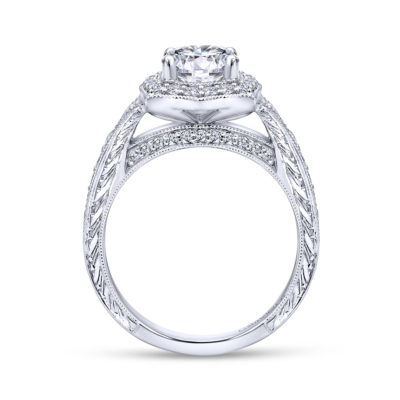 Theresa Vintage 14K White Gold Round Halo Diamond Engagement Ring