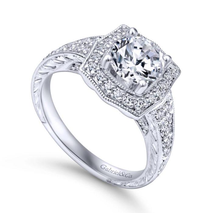 Theresa Vintage 14K White Gold Round Halo Diamond Engagement Ring