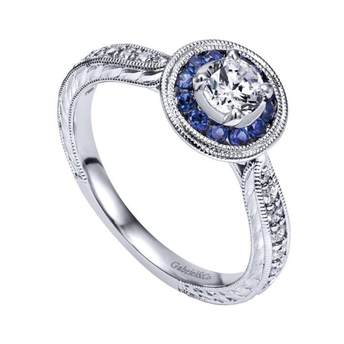 Jonas Vintage 14K White Gold Round Halo Sapphire and Diamond Engagement Ring