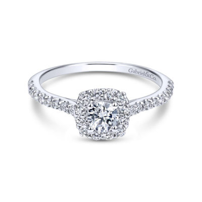 Alessia 14K White Gold Round Halo Diamond Engagement Ring