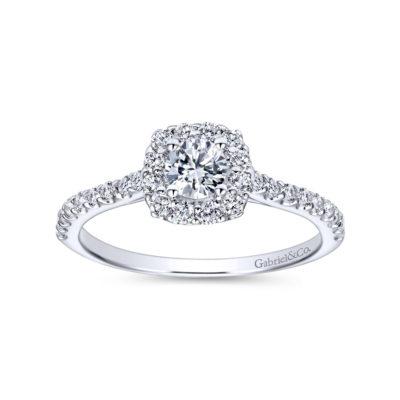 Alessia 14K White Gold Round Halo Diamond Engagement Ring