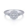 Margherita 14K White Gold Princess Halo Diamond Engagement Ring