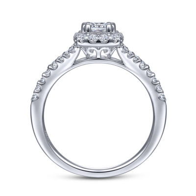 Margherita 14K White Gold Princess Halo Diamond Engagement Ring