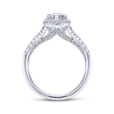Verbena 14K White Gold Marquise Halo Diamond Engagement Ring