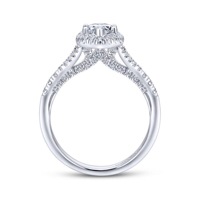 Verbena 14K White Gold Marquise Halo Diamond Engagement Ring