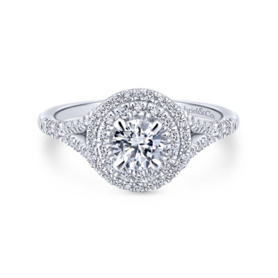 Bellezza 14K White-Rose Gold Round Diamond Engagement Ring
