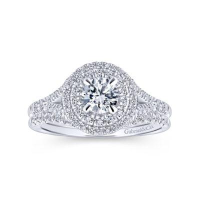 Bellezza 14K White-Rose Gold Round Diamond Engagement Ring