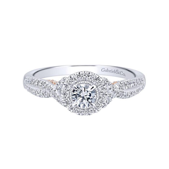 Lourdes 14K White-Rose Gold Round Halo Diamond Engagement Ring