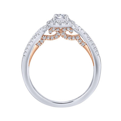 Lourdes 14K White-Rose Gold Round Halo Diamond Engagement Ring