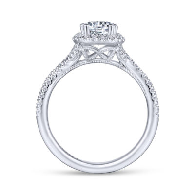 Chatham 14K White Gold Pear Shape Halo Diamond Engagement Ring