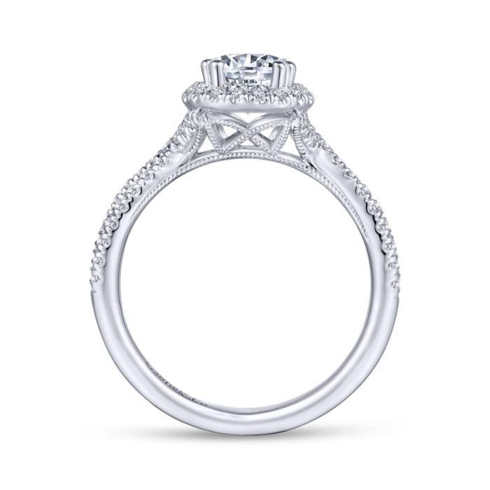Chatham 14K White Gold Pear Shape Halo Diamond Engagement Ring