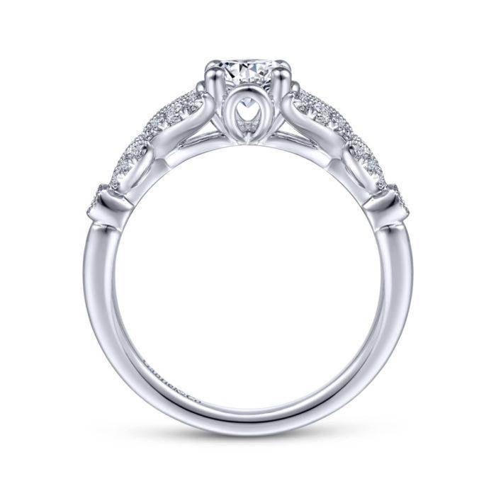 Bryce Vintage 14K White Gold Split Shank Round Diamond Engagement Ring