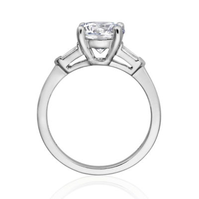 Henri Daussi Modern 14K White Gold Diamond Semi-Mount Ring