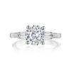 Henri Daussi Modern 14K White Gold Diamond Semi-Mount Ring