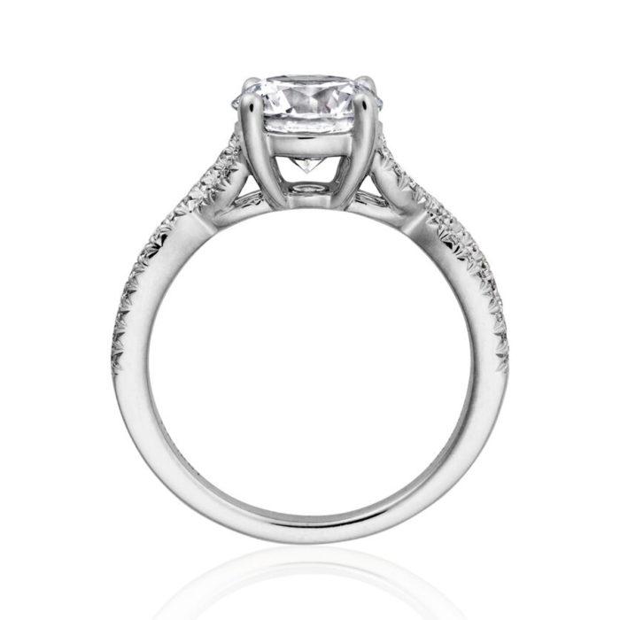Henri Daussi Vintage 14K White Gold Pave Semi-Mount Ring