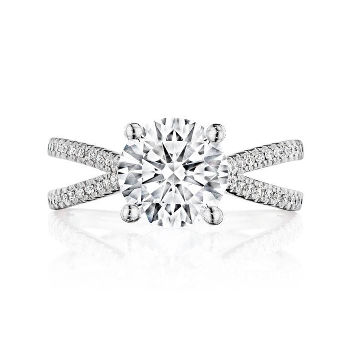 Henri Daussi Vintage 18K White Gold Pave Diamond Semi-Mount Ring