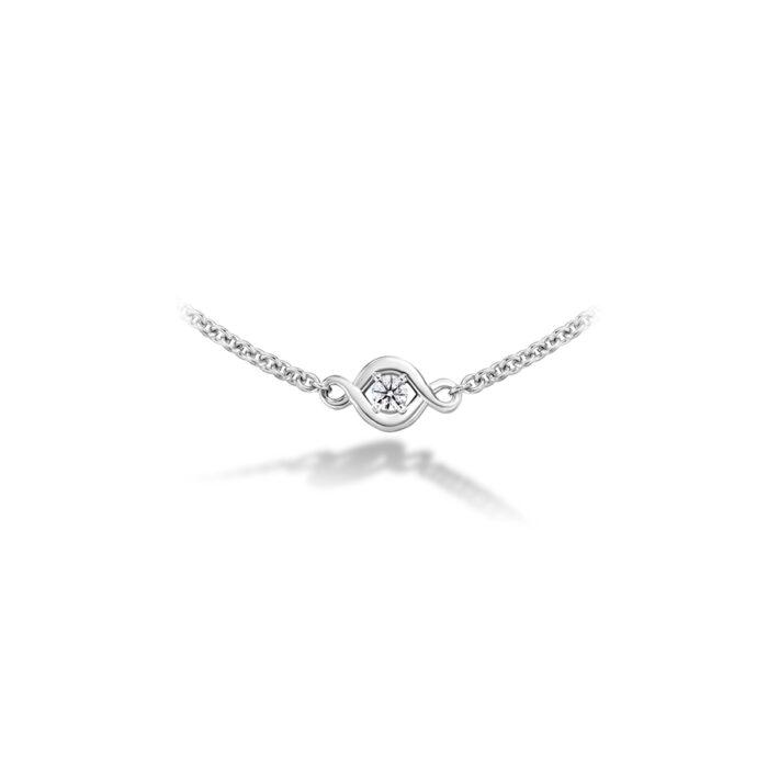 HOF 18K White Optima Diamond Station Necklace, Dia 0.21ctw