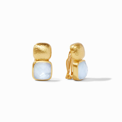 Catalina Clip-On Gold Iridescent Chalcedony Blue