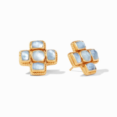 Julie Vos Savoy Earring Gold Iridescent Chalcedony Blue