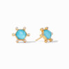 Julie Vos Cosmo Stud Gold Iridescent Pacific Blue Earrings