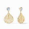 Julie Vos Chantilly Earring Gold Iridescent Chalcedony Blue