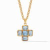 Savoy Pendant Gold Iridescent Chalcedony Blue
