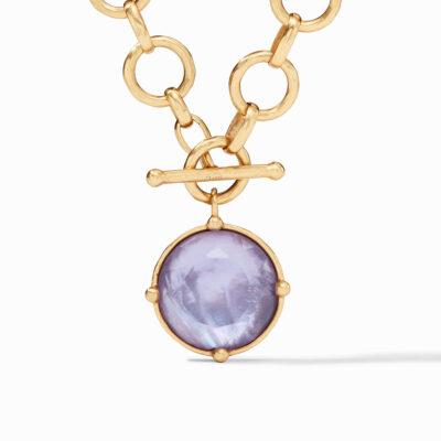 Honeybee Statement Necklace Gold Iridescent Lavender Reversible