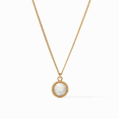 Fleur-de-Lis Solitaire Necklace Gold Iridescent Clear Crystal Reversible
